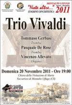 Domenica a Montalto nuovo appuntamento per Note Altre, di scena, Gerbasi, De Rose e allevato, in arte Trio Vivaldi