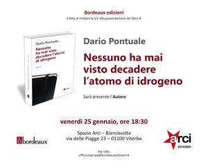 BordeNessuno ha mai visto decadere l'atomo di idrogeno, il libro di Dario Pontuale