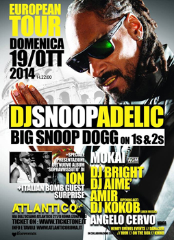 Dj Snoopadelic a.k.a. Snoop Dogg, Dj Set + Live Performance all'Atlantico Live di Roma