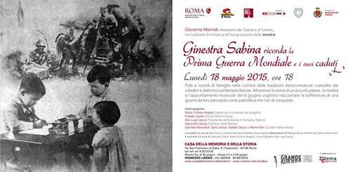 Ginestra Sabina ricorda la prima guerra mondiale e i suoi caduti. La mostra a la Casa della Memoria e della Storia di Roma