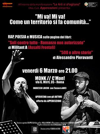Militant A e Alessandro Pieravanti protagonisti per Le Arti si sFogliano dell'evento  Mi va! Mi va! Come un territorio si fa comunità…al Monk Club di Roma