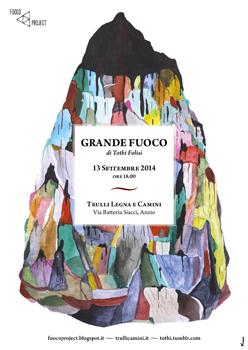 Grande fuoco, l'opera di Tothi Folisi in esposizione negli spazi l'azienda Trulli Legna e Camini, ad Anzio