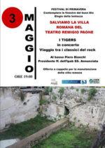 Salviamo la Villa Romana del Teatro Remigio Paone. I Tigers in concerto