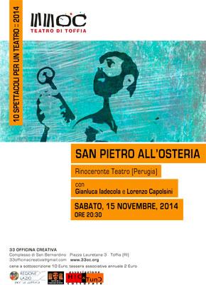 """""""San Pietro all'osteria"""" a """"10 spettacoli per un teatro"""" a Toffia"""