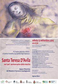 Santa Teresa d'Avila, evento incentrato sulla figura della santa alla Cripta della Parrocchia Pontificia di San Tommaso da Villanova