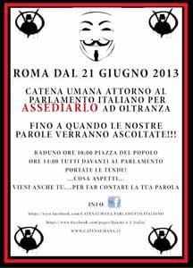 Montecitorio assediato, gli attivisti: Via la Casta. Il 21 giugno una 'catena umana' attorno al Palazzo