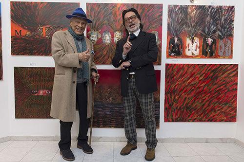 Giorgio Albertazzi inaugura la mostra di Roberto Del Fabbro a la Galleria Sallustiana 27 di Roma