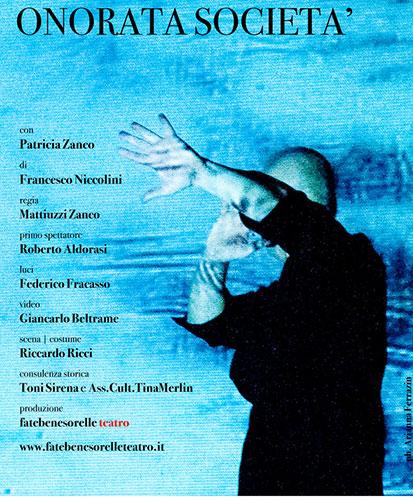 Onorata società con Patricia Zanco, lo spettacolo in scena al Teatro Due Roma per la Rassegna A Roma, A Roma!