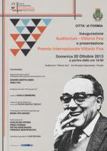Intitolazione auditorium di Formia e presentazione del premio internazionale Vittorio Foa