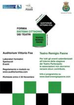 Sistema Cittadino dei Teatri. Laboratori formativi, tempo fino al 30 novembre per le richieste