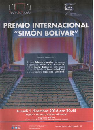 Premio Internacional Simón Bolívar al Teatro Lo Spazio di Roma