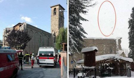 Crollato il campanile di Sant'Agostino