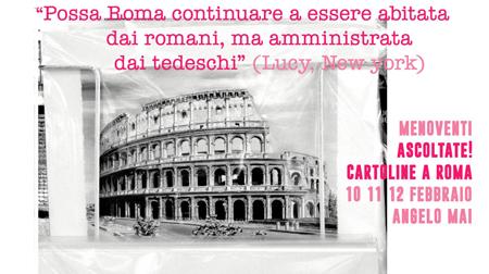 Menoventi all'Angelomai con Ascoltate! Cartoline da Roma