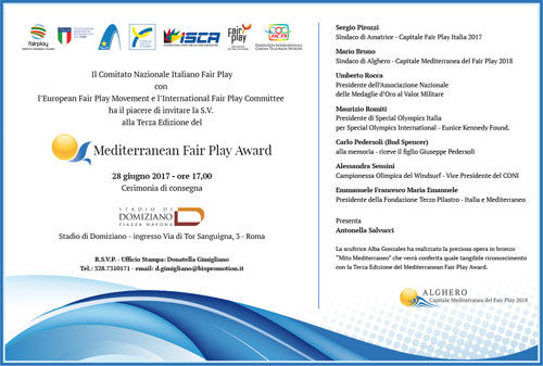 Mediterranean Fair Play Award, al via la III edizione