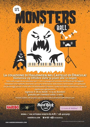 Bambini al castello di Dracula. Halloween all'hard Rock Cafe di Roma