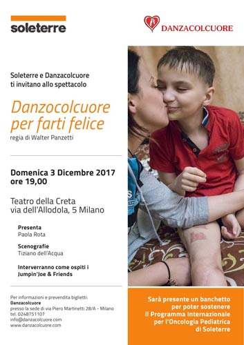 Soleterre al Teatro della Creta di Milano con lo spettacolo Danzocolcuore per farti felice