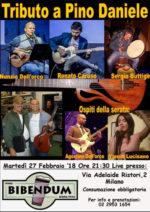 Tributo a Pino Daniele con la voce di Nunzio dell'Orco, la chitarra di Renato Caruso, altri musicisti e ospiti… all'enobirroteca Bibendum di Milano