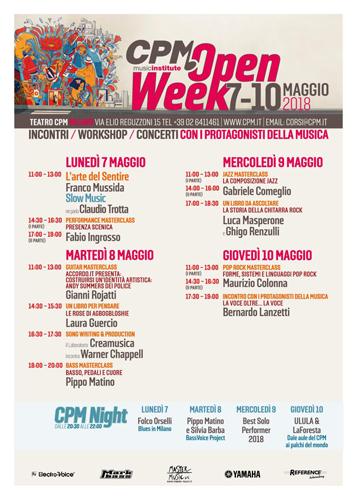 Torna l'Open Week al CPM Music Institute, la scuola diretta e fondata da Franco Mussida