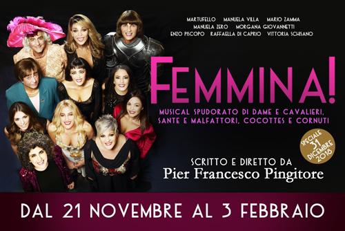 """Pingitore debutta con """"Femmina"""" al Salone Margherita di Roma ed entra nei social"""