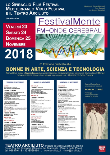 "Al via la 5ª Ed. di ""FestivalMente FM – Onde Cerebrali – The Art Of Mixing"" – Omaggio alle donne, in Arte scienza e Tecnologia"