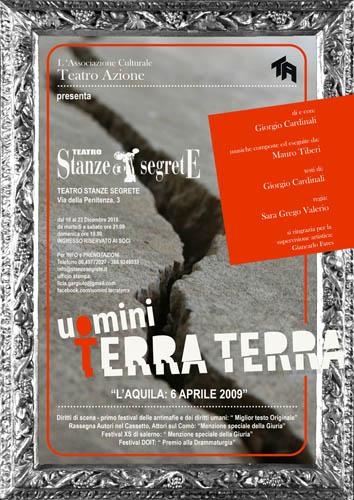 Uomini Terra Terra, lo spettacolo di Giorgio Cardinali in scena al Teatro Stanze Segrete di Roma