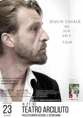 """Giulio Casale presenta al teatro Arciliuto di Roma il suo nuovo album """"Inexorable"""""""