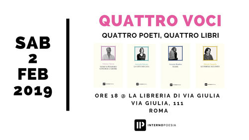 Alla Libreria di Via Giulia quattro voci di Interno Poesia