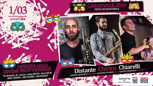 """Il """"Venerdì LIVE"""" dell'""""Osteria della divina provvidenza"""" è in maschera con il trio d'eccezione Distante Chirico Chiarelli"""