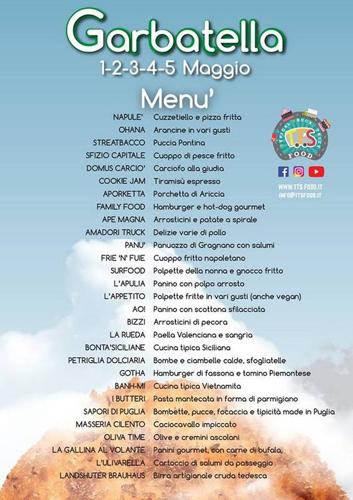 Primo maggio al Garbatella Festival Street Food 1-5 maggio, il menù