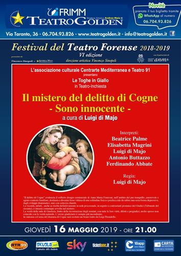"""""""Il mistero del delitto di Cogne"""" a cura di Luigi Di Majo Festival del Teatro Forense in scena al Teatro Golden di Roma"""