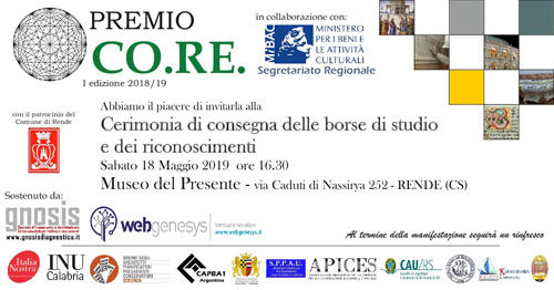 PREMIO CO.RE. 2019, al via la I° edizione