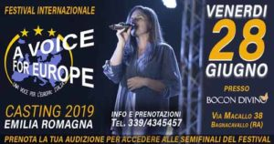 A Bagnacavallo i casting di A Voice for Europe/Italia