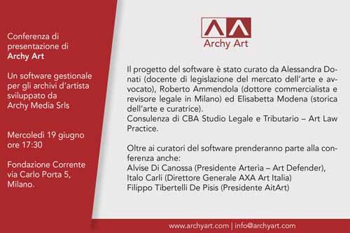 Archy Art, l'innovativo software gestionale destinato agli archivi d'artista sviluppato dalla Startup Archy Media srls. La presentazione