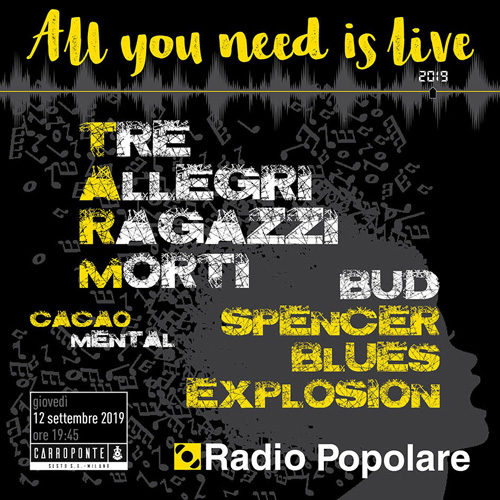 Carroponte, il 12 settembre anche i Bud Spencer Blues Explosion a All you need is live 2019