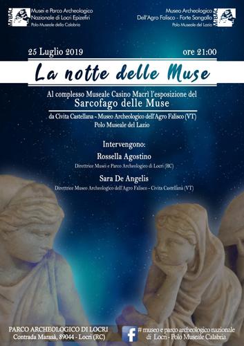 La notte delle muse. Esposizione del sarcofago delle muse al Complesso monumentale Casino Macrì del Parco Archeologico di Locri