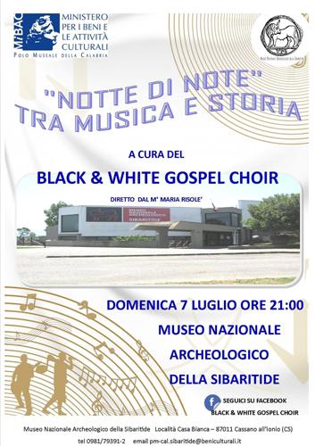 Notte di Note. Tra musica e storia, il concerto gospel al Museo Nazionale Archeologico della Sibaritide  Cassano all'Ionio