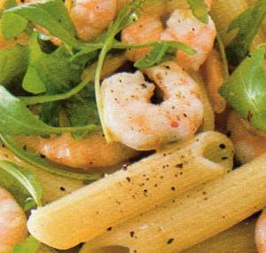 Rigatoni calamari, gamberetti e rughetta