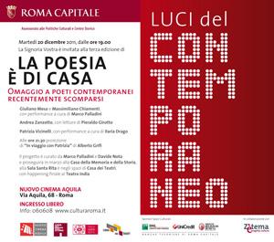 La poesia è di casa, Luci del contemporaneo, al nuovo cinema Aquila di Roma