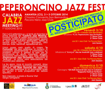 Calabria Jazz Meeting di Amantea, posticipato ad ottorbe la prima edizione