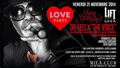 Angelus Marino fa tappa a Milano per il compleanno del dr Feelx. Appuntamento al Milà Club