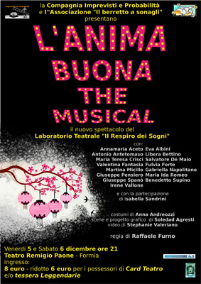 L'anima buona, The Musical. Lo spettacolo in calendario al Teatro Remigio Paone di Formia