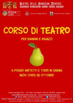 Laboratori di teatro e movimento a cura dell'Officina Culturale della Bassa Sabina a Poggio Mirteto e a Torri in Sabina ai nastri di partenza