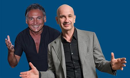 Francesco Paolantoni e Stefano Sarcinelli in BASTA! Sotto ai riflettori del Salone Margherita di Roma