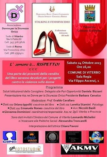 Stalking e femminicidio a Viterbo con l'Associazione Donne per la sicurezza Onlus
