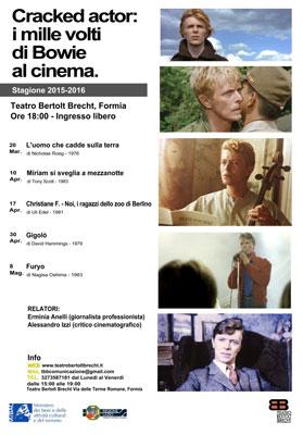 Cracked Bowie: i mille volti di Bowie al cinema al Teatro Bertolt Brecht, Formia