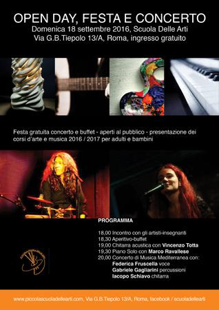 Festa con concerti e buffet per la presentazione dei corsi d'arte e musica 2016 / 2017 per adulti e bambini