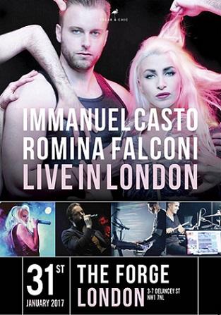 Immanuel Casto e Romina Falconi arrivano a Londra! Il 31 gennaio in concerto al The Forge