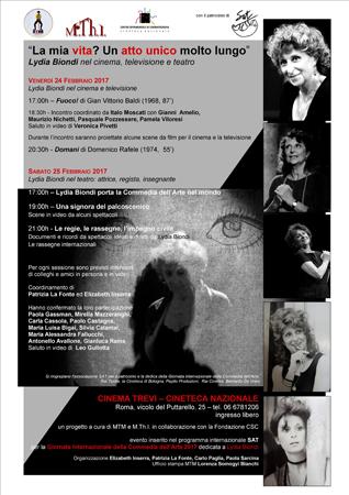 Al Cinema Trevi due giornate per ricordare Lydia Biondi