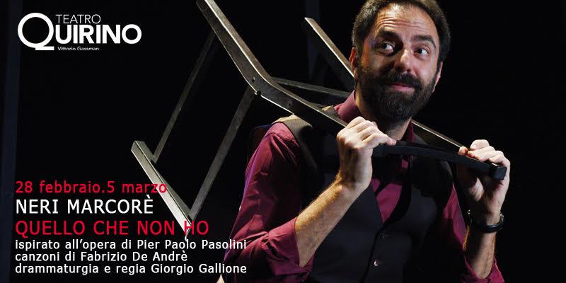 Quello che non ho, lo spettacolo con Neri Marcorè e canzoni di Fabrizio De Andrè al Teatro Quirino