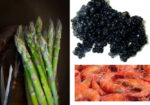I gamberi rossi al caviale su un letto di asparagi e patate